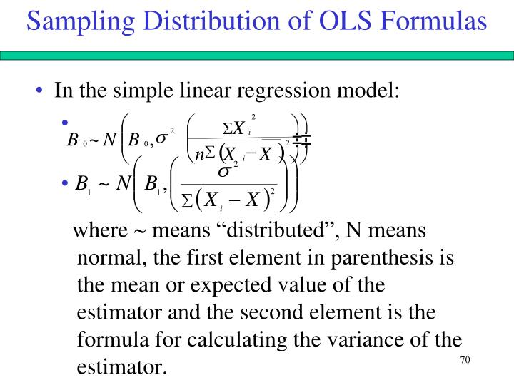 Sampling Distribution of OLS Formulas