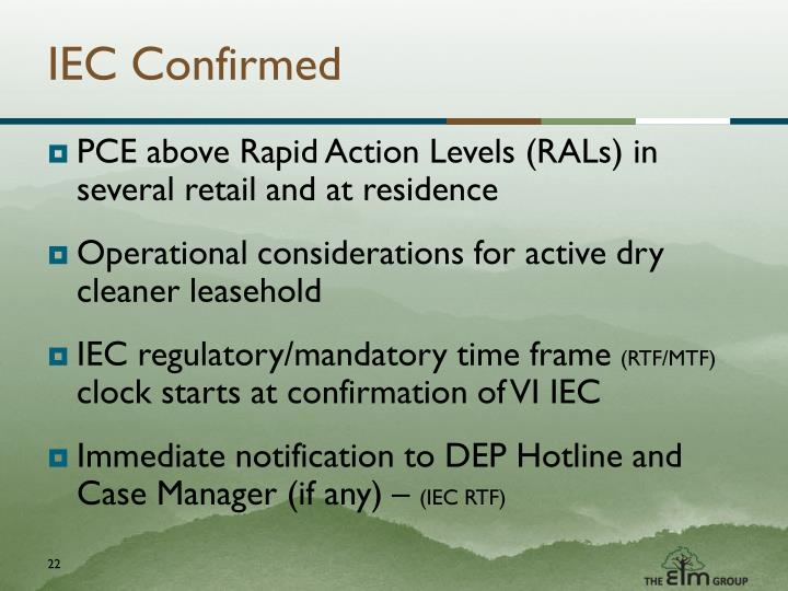 IEC Confirmed
