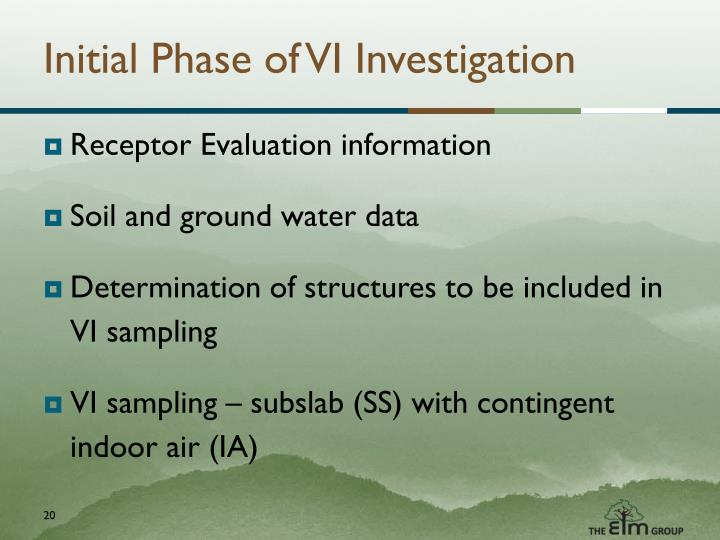 Initial Phase of VI Investigation
