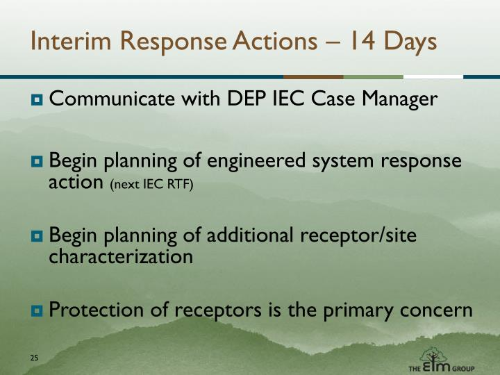 Interim Response Actions – 14 Days