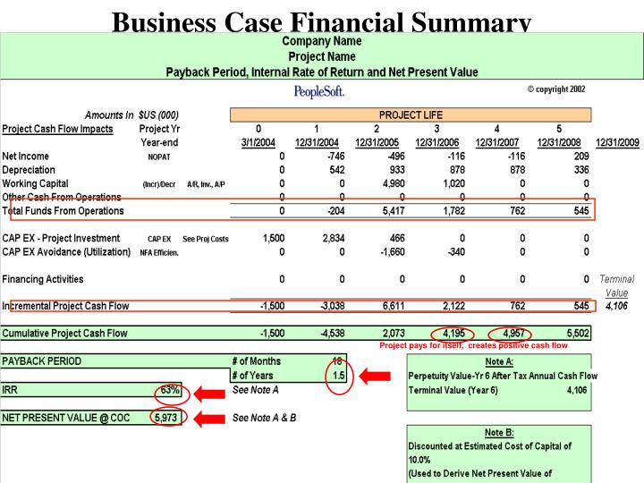 Business Case Financial Summary
