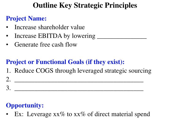Outline Key Strategic Principles