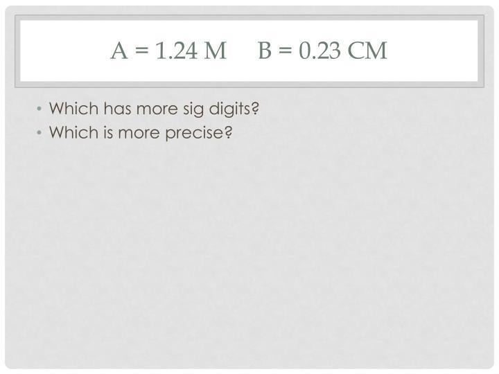 A = 1.24 m     B = 0.23 cm