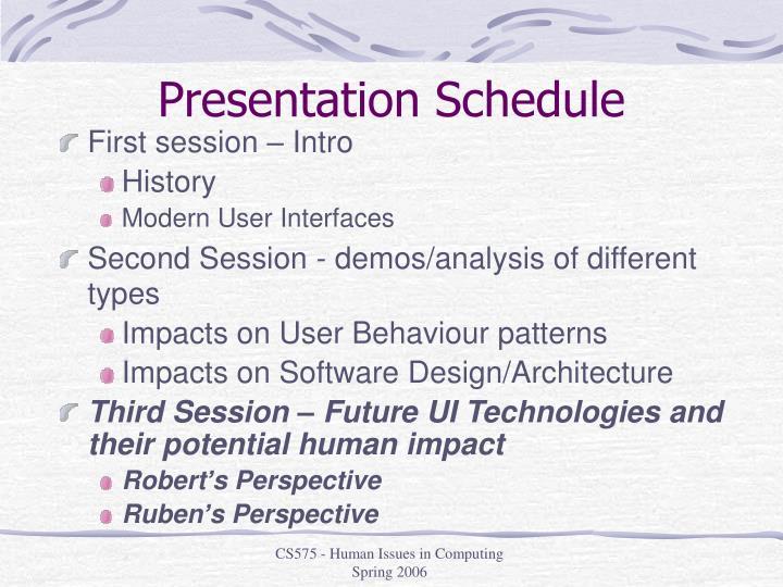Presentation Schedule