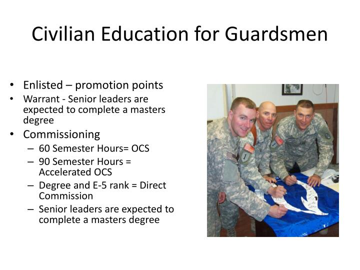 Civilian education for guardsmen
