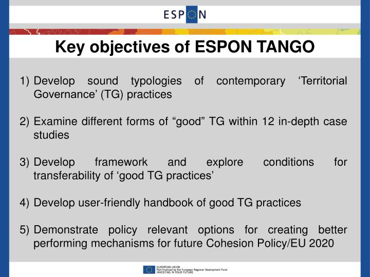 Key objectives of ESPON TANGO