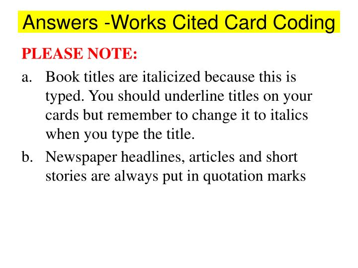 Answers works cited card coding