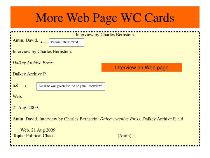 More Web Page WC Cards