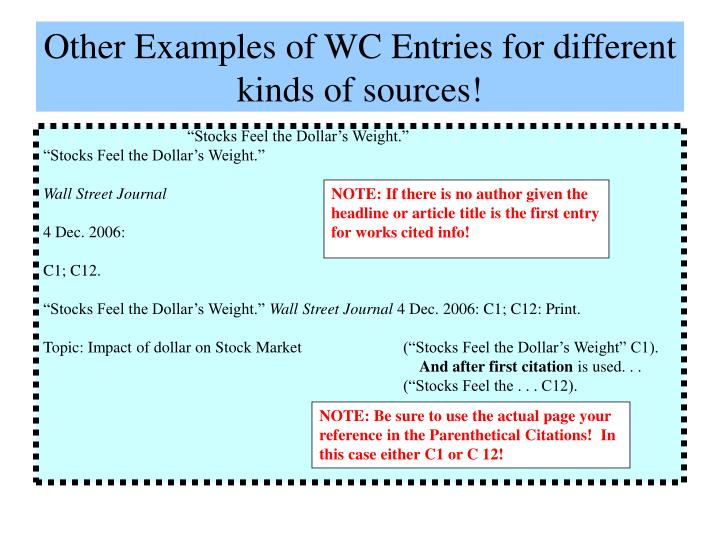 Other Examples of WC Entries for different kinds of sources!