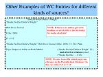 other examples of wc entries for different kinds of sources