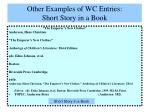 other examples of wc entries short story in a book