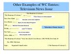 other examples of wc entries television news issue