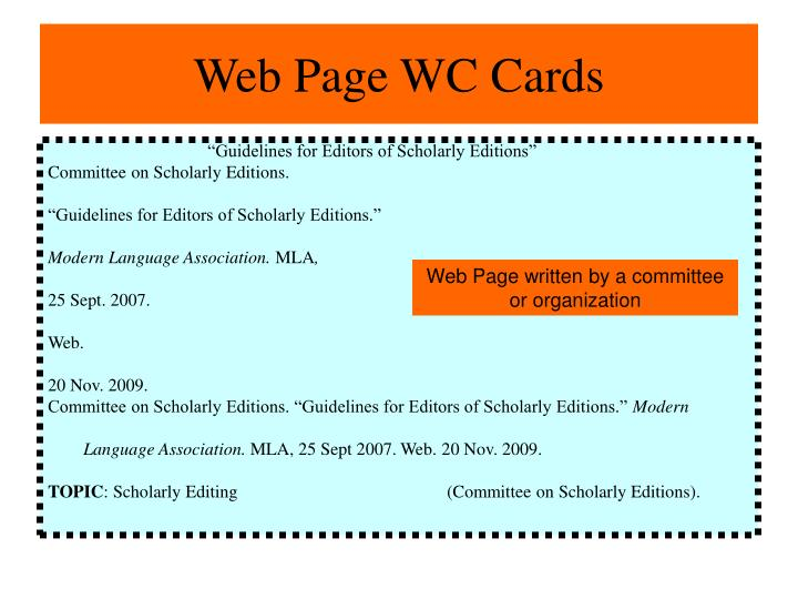 Web Page WC Cards