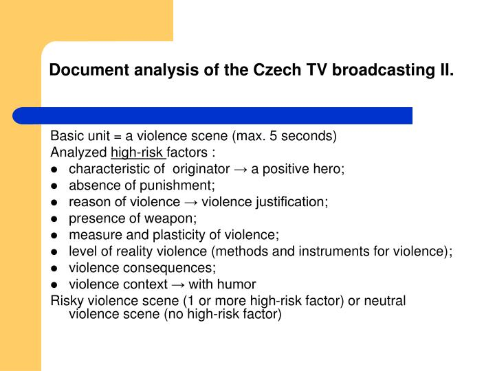 Document analysis of the Czech TV broadcasting