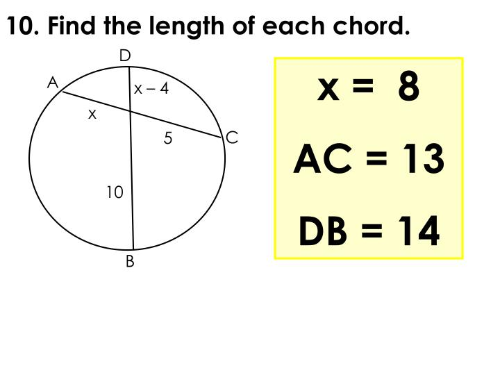 10. Find the length of each chord.