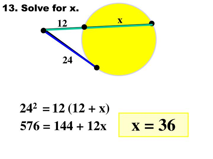 13. Solve for x.