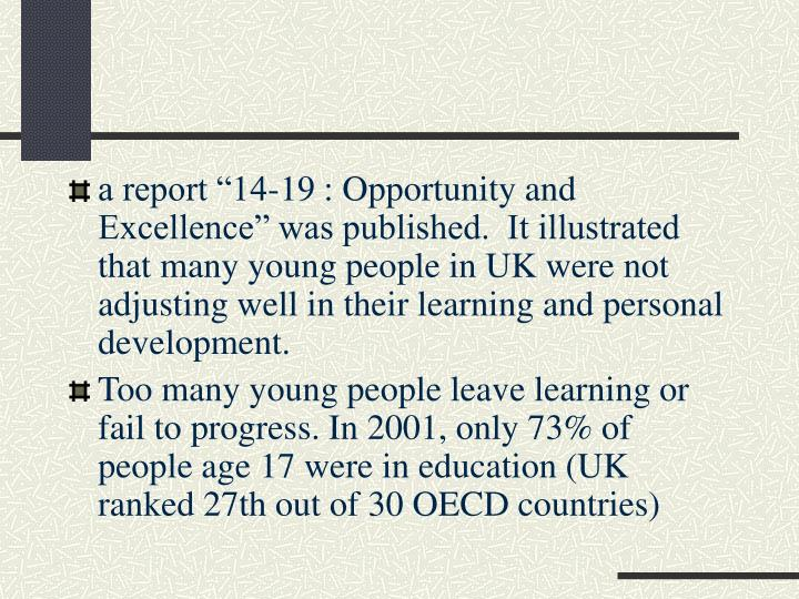 "a report ""14-19 : Opportunity and Excellence"" was published.  It illustrated that many young people in UK were not adjusting well in their learning and personal development."