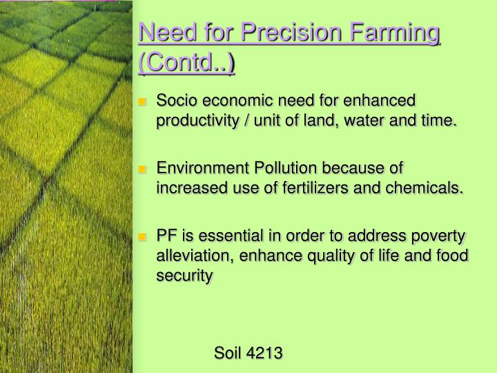 Need for Precision Farming (Contd..)
