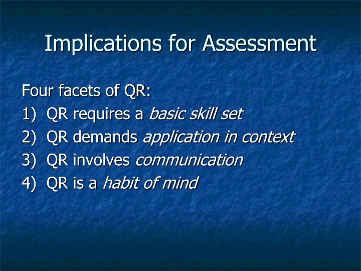 Implications for Assessment
