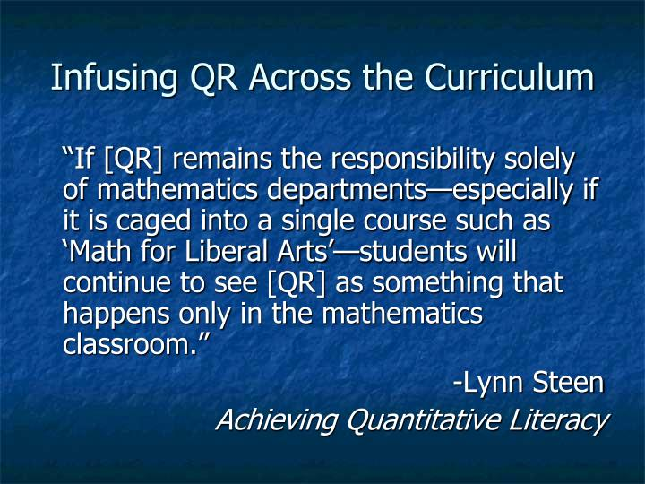 Infusing QR Across the Curriculum