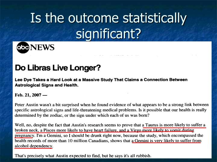Is the outcome statistically significant?