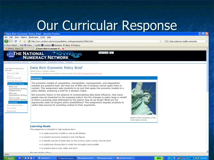 Our Curricular Response