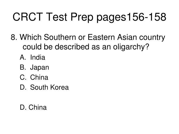 CRCT Test Prep pages156-158