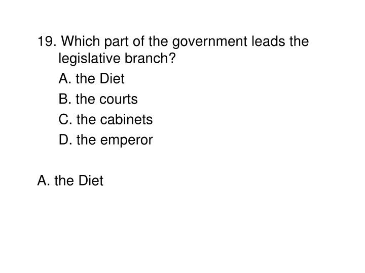 19. Which part of the government leads the legislative branch?