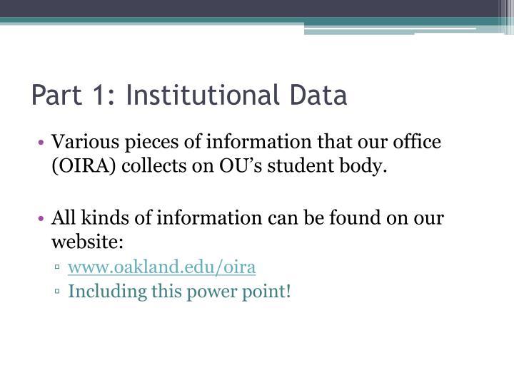 Part 1: Institutional