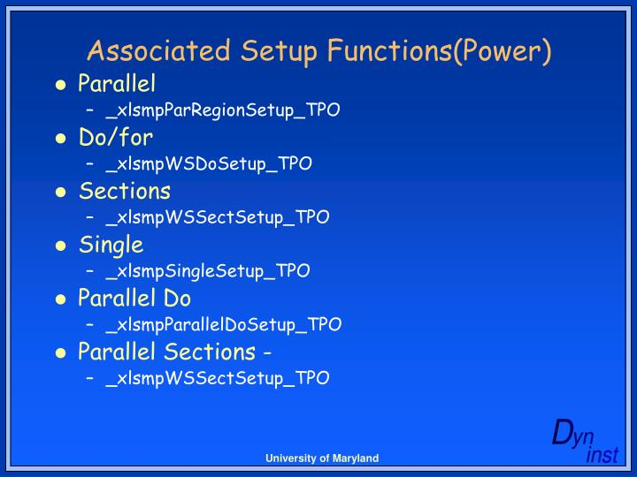 Associated Setup Functions(Power)