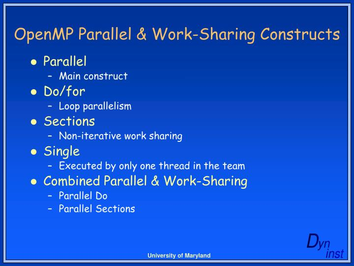 Openmp parallel work sharing constructs