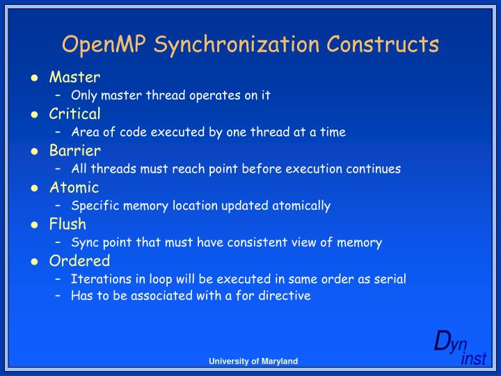 OpenMP Synchronization Constructs