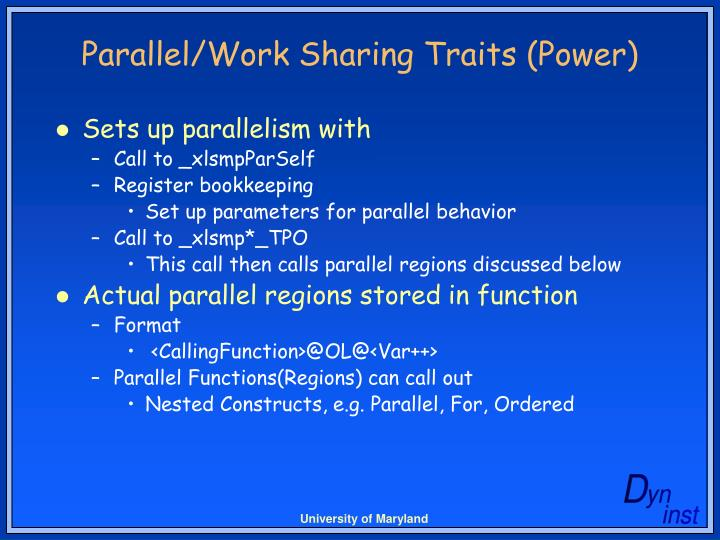 Parallel/Work Sharing Traits (Power)