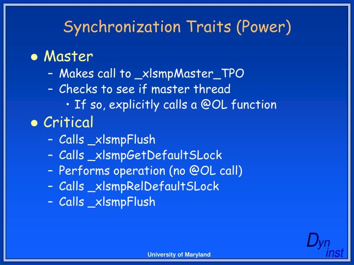 Synchronization Traits (Power)