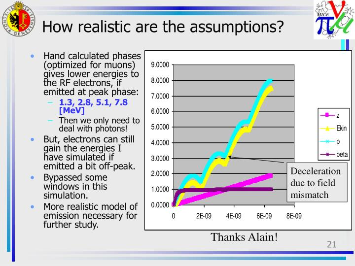 How realistic are the assumptions?