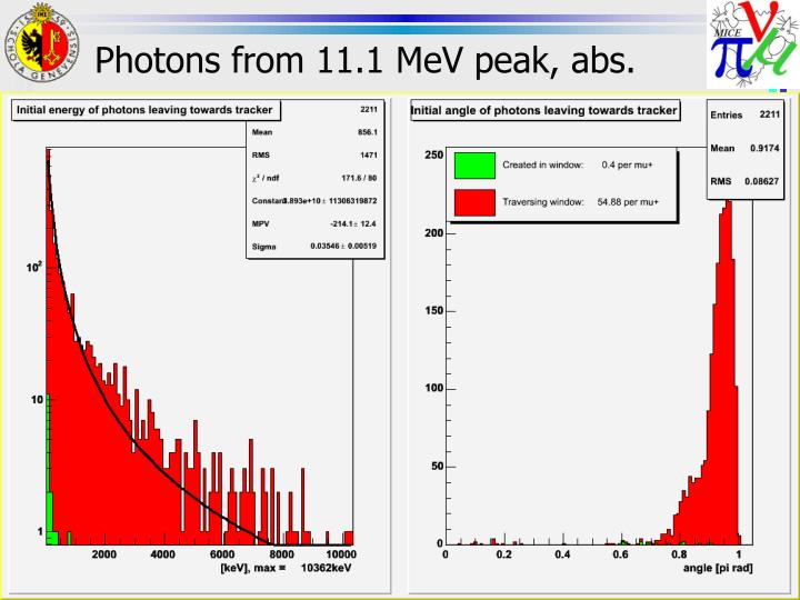 Photons from 11.1 MeV peak, abs.