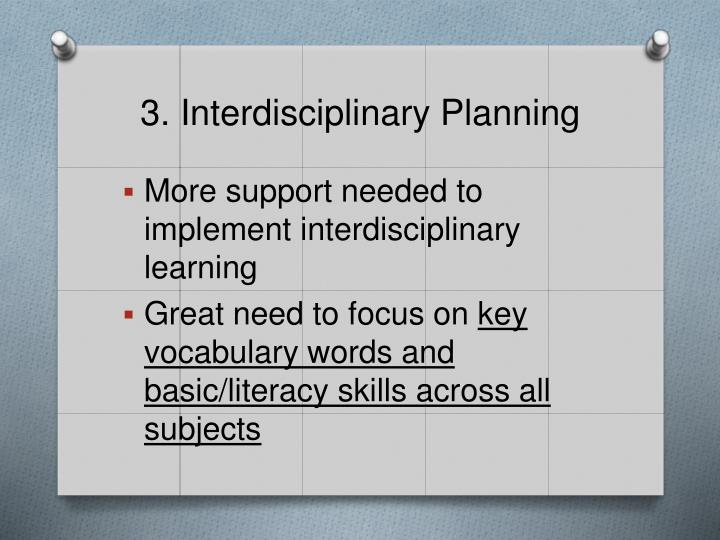3. Interdisciplinary Planning