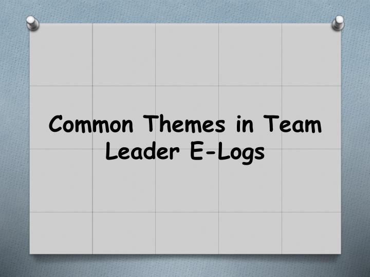 Common Themes in Team Leader E-Logs