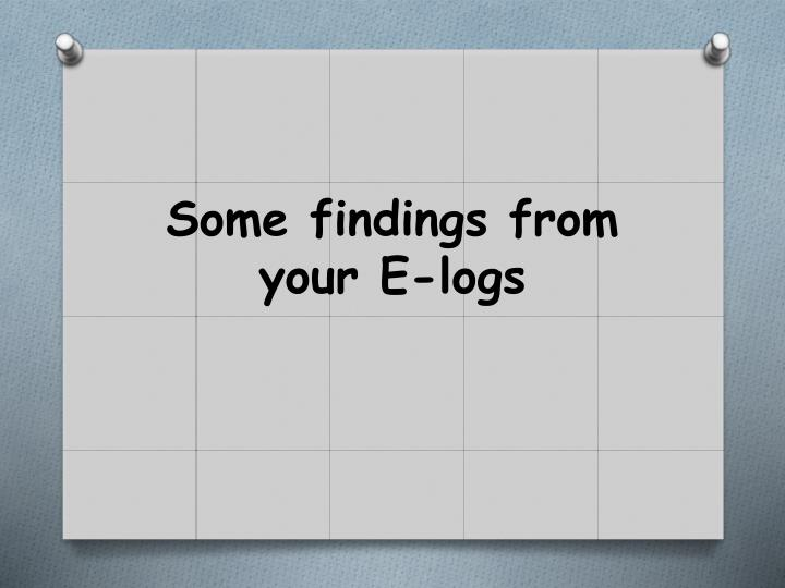 Some findings from your E-logs