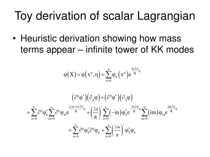 Toy derivation of scalar lagrangian