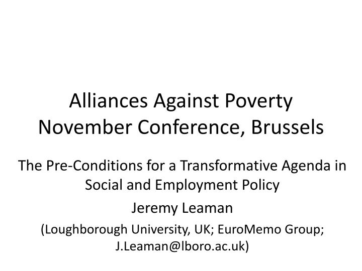 Alliances against poverty november conference brussels