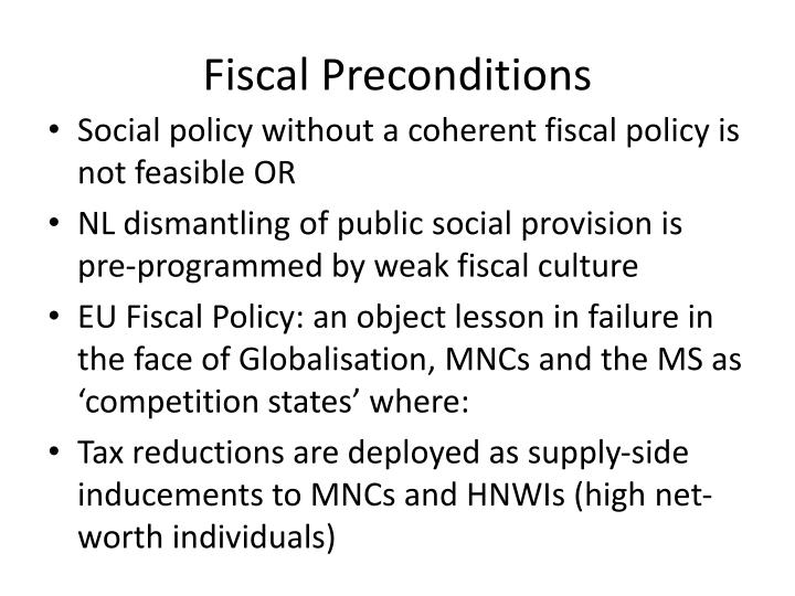 Fiscal Preconditions
