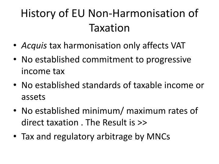 History of EU Non-Harmonisation of Taxation