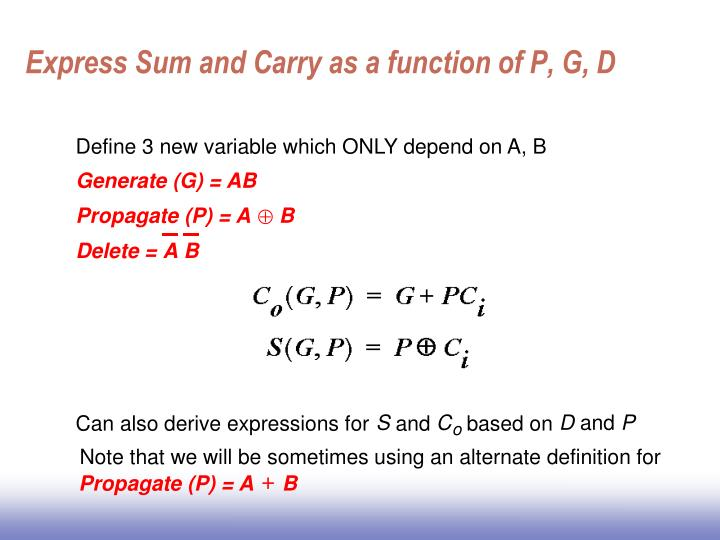 Express Sum and Carry as a function of P, G, D