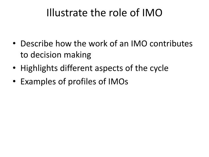 Illustrate the role of IMO
