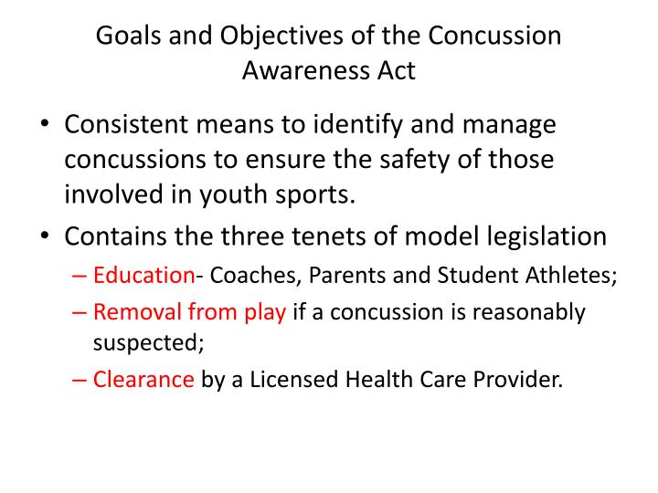 Goals and Objectives of the Concussion Awareness Act