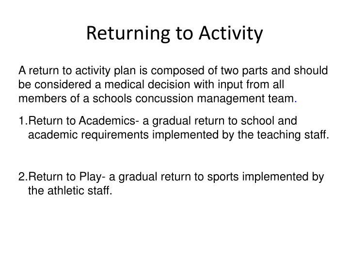 Returning to Activity