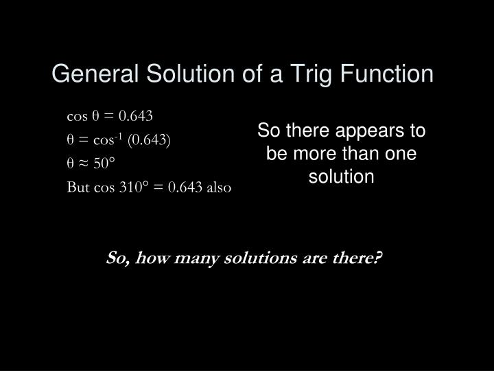 General Solution of a Trig Function