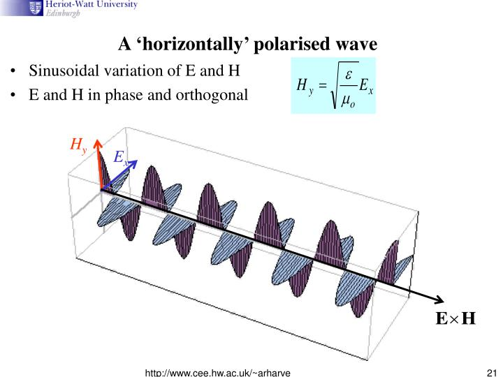 A 'horizontally' polarised wave