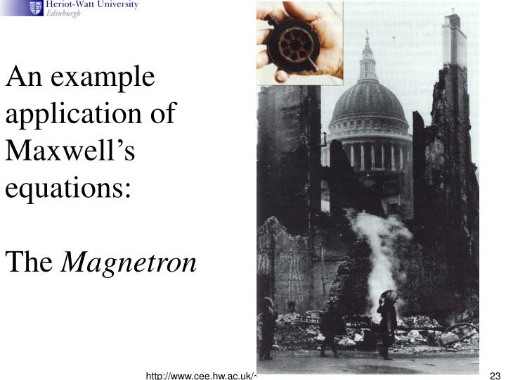 An example application of Maxwell's equations:
